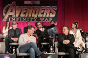 (Top L-R): Actors  Elizabeth Olsen, Mark Ruffalo, Tom Hiddleston, and Sebastian Stan, (Middle L-R): President of Marvel Studios and Producer Kevin Feige, actors Robert Downey Jr., and Zoe Saldana, (Bottom L-R): Actor Josh Brolin, and Director Joe Russo attend the Global Press Conference at the Avengers: Infinity War Press Junket in Los Angeles, CA April 22nd, 2018
