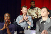 (L-R) Actors Danai Gurira, Benedict Cumberbatch, Winston Duke, and Tom Holland attend the Global Press Conference at the Avengers: Infinity War Press Junket in Los Angeles, CA April 22nd, 2018