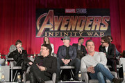 (Top L-R): Actors Elizabeth Olsen and Mark Ruffalo, (Middle L-R): Actor Scarlett Johansson, President of Marvel Studios and Producer Kevin Feige, and actor Robert Downey Jr., (Bottom L-R): Director Anthony Russo, and actor Josh Brolin attend the Global Press Conference at the Avengers: Infinity War Press Junket in Los Angeles, CA April 22nd, 2018