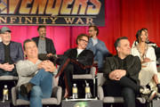 (L-R) President of Marvel Studios and Producer Kevin Feige, actors Josh Brolin, Mark Ruffalo, Robert Downey Jr., Tom Hiddleston, Director Joe Russo, and actor Zoe Saldana attend the Global Press Conference at the Avengers: Infinity War Press Junket in Los Angeles, CA April 22nd, 2018