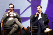 (L-R) Tom Hiddleston and Benedict Cumberbatch attend the press conference for 'Avengers: Infinity War' Seoul premiere on April 12, 2018 in Seoul, South Korea.