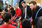 (L-R) Paul Rudd, Scarlett Johansson, Robert Downey Jr., Brie Larson, Chris Hemsworth and Jeremy Renner attend Avengers Universe Unites, a charity event to celebrate the donation of more than $5 million in cash and toys to nonprofits supporting children with critical illnesses, at Disney California Adventure Park on April 5, 2019 in Anaheim, California.