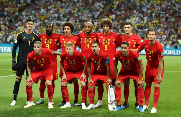 Brazil vs. Belgium: Quarter Final - 2018 FIFA World Cup Russia [team photo,team,sports,team sport,player,soccer player,sport venue,football player,ball game,stadium,soccer,russia,belgium,kazan arena,brazil,quarter final - 2018 fifa world cup,match]