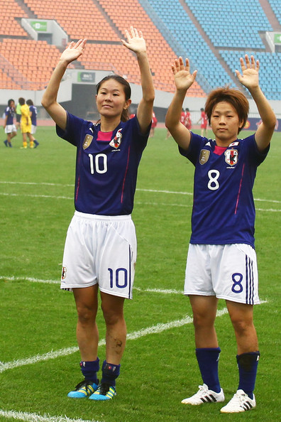 Homare Sawa and Aya Miyama - North Korea v Japan - Women's Olympic Asian Qualifier