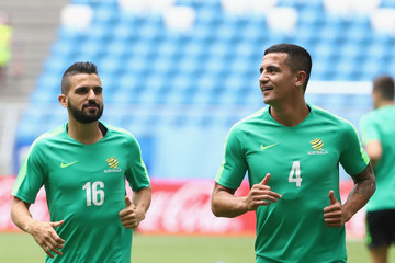Aziz Behich Australia Training Session And Press Conference