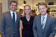 (L to R)  Adam McCollum, Andrea Powell and Swiss Ambassador Manuel Sager attend the BALLY Grand Opening At Tysons Galleria on September 29, 2011 in McLean, United States.