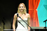 Jennifer Lawrence speaks onstage during the BAM Gala 2018 honoring Darren Aronofsky, Jeremy Irons, and Nora Ann Wallace at Brooklyn Cruise Terminal on May 30, 2018 in New York City.