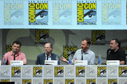 (L-R) Steven Moffat, David Bradley, Mark Gatiss, and Marcus Wilson speak onstage at BBC America's 'Doctor Who' 50th Anniversary panel during Comic-Con International 2013 at San Diego Convention Center on July 21, 2013 in San Diego, California.