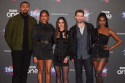 """(L-R) Jordan Banjo, Alesha Dixon, Cheryl, Matthew Morrison and Oti Mabuse attend a photocall for the BBC's """"The Greatest Dancer"""" at The May Fair Hotel on December 10, 2018 in London, England."""