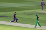 Tymal Mills of the Hurricanes celebrates taking the wicket of Kevin Pietersen of the Stars caught and bowled during the Big Bash League match between the Melbourne Stars and and the Hobart Hurricanes at Melbourne Cricket Ground on January 27, 2018 in Melbourne, Australia.