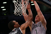 U.S. Team's Mason Plumlee #1 of the Brooklyn Nets shoots the ball against World Team's Rudy Gobert #27 of the Utah Jazz during the BBVA Compass Rising Stars Challenge as part of the 2015 NBA Allstar Weekend at the Barclays Center on February 13, 2015 in the Brooklyn borough of New York City.  NOTE TO USER: User expressly acknowledges and agrees that, by downloading and or using this photograph, User is consenting to the terms and conditions of the Getty Images License Agreement.