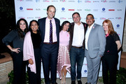 (L-R) Tania Moyron, Bhanu Cruz, LA Goes Pink Co-Chair, Phil Tate, Mia Kelly, Mike Kelly, Chris Pearson, and Beverly Kenworth attend BCRF Presents LA GOES PINK at Wallis Annenberg Center for the Performing Arts on October 07, 2019 in Beverly Hills, California.