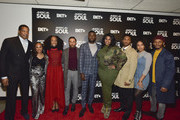 Tony Cornelius, Perri Camper, Iantha Richardson, Jason Dirden, Sinqua Walls, Kelly Price, Christopher Jefferson, Katlyn Nichol, and Jelani Winston attend the BET American Soul NYC Screening Event on January 28, 2019 in New York City.