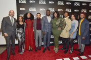Scott Mills, Perri Camper, Iantha Richardson, Jason Dirden, Sinqua Walls, Kelly Price, Christopher Jefferson, Katlyn Nichol, and Jelani Winston attend the BET American Soul NYC Screening Event on January 28, 2019 in New York City.