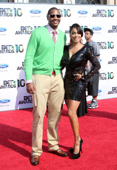 Carmelo Anthony (L) and LaLa Vazquez arrive at the 2010 BET Awards held at the Shrine Auditorium on June 27, 2010 in Los Angeles, California.