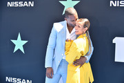 (L-R) Victor Cruz and Karrueche Tran attend the 2019 BET Awards on June 23, 2019 in Los Angeles, California.