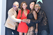(L-R) DeVon Franklin, Meagan Good, La'Myia Good, and Eric Bellinger attend the 2019 BET Awards on June 23, 2019 in Los Angeles, California.