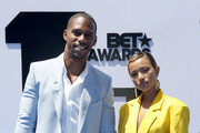 Victor Cruz and Karrueche Tran attend the Pantene Style Stage at the 2019 BET Awards at the 2019 BET Awards at Microsoft Theater on June 23, 2019 in Los Angeles, California.