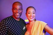 (L-R) Chris Spencer and Amanda Seales pose for a portrait during the BET Awards 2019 at Microsoft Theater on June 23, 2019 in Los Angeles, California.