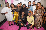 (L-R) back row: Loni Love, Rhea Walls, Ahjah Walls, Estelle, Kelly Price, Keri Hilson, Alic 'Paco' Walls, Bershan Shaw, front row: Luke James, and Darrel Walls backstage during the 'BET Her Fights Breast Cancer' special event at Riverside Epicenter on September 20, 2018 in Atlanta, Georgia.