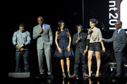 (L-R) Rapper Nelly, actor Boris Kodjoe, model Selita Ebanks, actor Kevin Hart, actress Cynthia Kaye McWilliams and President of Music Programming and Specials for BET Networks Stephen G. Hill speak onstage at the BET Networks 2013 New York Upfront on April 16, 2013 in New York City.