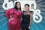 Kelly Price and Angell Conwell attend the 2019 Soul Train Awards presented by BET at the Orleans Arena on November 17, 2019 in Las Vegas, Nevada.