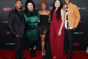 (L-R) RonReaco Lee, Michelle Buteau, Ryan Michelle Bathe, Tracy Oliver and Mark Tallman attend the BET+ red carpet and launch party at NeueHouse Los Angeles on September 19, 2019 in Hollywood, California.