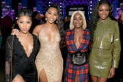 (L-R)  Jasmin Brown, Jasmine Luv, Sandra Lambeck, and Leomie Anderson  attend BET's Social Awards 2018 at Tyler Perry Studio on February 11, 2018 in Atlanta, Georgia.