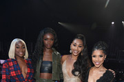 (L-R) Sandra Lambeck, Leomie Anderson, Jasmine Luv and Jasmin Brown attend BET's Social Awards 2018 at Tyler Perry Studio on February 11, 2018 in Atlanta, Georgia.