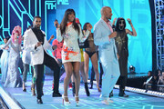 Host Kelly Rowland and Boris Kodjoe on stage with models at BET's Rip The Runway 2013:Show at Hammerstein Ballroom on February 27, 2013 in New York City.