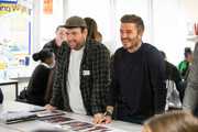 David Beckham and Richard Quinn as the BFC launch fashion studio apprenticeship with ambassadorial president, David Beckham,  ambassador for positive fashion, Adwoa Aboah and designers Richard Quinn, Rosh Mahtani and Paolino Russo at Prendergast Vale School on September 23, 2019 in London, England.