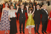 """Rebecca Hall, Penelope Wilton, Steven Spielberg, Ruby Barnhill, Mark Rylance, Frank Marshall and Kathleen Kennedy attend """"The BFG (Le Bon Gros Geant - Le BGG)"""" premiere during the 69th annual Cannes Film Festival at the Palais des Festivals on May 14, 2016 in Cannes, France."""