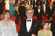 """Penelope Wilton, Steven Spielberg and Ruby Barnhill attend """"The BFG (Le Bon Gros Geant - Le BGG)"""" premiere during the 69th annual Cannes Film Festival at the Palais des Festivals on May 14, 2016 in Cannes, France."""