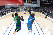 Quentin Richardson #3 of the Power shoots the ball against Larry Sanders #8 of the 3 Headed Monsters during week nine of the BIG3 three on three basketball league at American Airlines Center on August 17, 2019 in Dallas, Texas.
