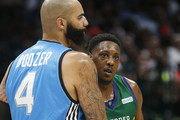 Carlos Boozer #4 of the Power greets Mario Chalmers #15 of the 3 Headed Monsters after their game during week nine of the BIG3 three on three basketball league at American Airlines Center on August 17, 2019 in Dallas, Texas.