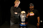 BIG3 co-founders Jeff Kwatinetz and Ice Cube unveil the 24 karat gold 2017 BIG3 Championship trophy, crafted by S. R. BLACKINTON, makers of the Kentucky Derby trophy for over 40 consecutive years, revealed for first time at the BIG3 Playoffs at KeyArena on August 20, 2017 in Seattle, Washington.