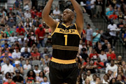 Chauncey Billups #1 of the Killer 3s attempts a shot against the Ball Hogs during week six of the BIG3 three on three basketball league at American Airlines Center on July 30, 2017 in Dallas, Texas.