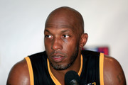 Chauncey Billups #1 of the Killer 3s speaks to the media during week six of the BIG3 three on three basketball league at American Airlines Center on July 30, 2017 in Dallas, Texas.