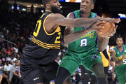 Donte Greene #20 of Killer 3s defends Larry Sanders #8 of the 3 Headed Monsters during week three of the BIG3 three on three basketball league at State Farm Arena on July 07, 2019 in Atlanta, Georgia.