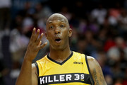 Chauncey Billups #1 of Killer 3s reacts during week two of the BIG3 three on three basketball league at Spectrum Center on July 2, 2017 in Charlotte, North Carolina.