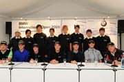 Miguel Angel Jimenez of Spain, Luke Donald of England, Rory McIlroy of  Northern Ireland, Henrik Stenson of Sweden, Bernhard Langer of Germany, Martin Kaymer of Germany and Colin Montgomerie of Scotland with some highly rated junior German golfers during a press conference prior to The BMW International Open Golf at The Munich North Eichenried Golf Club on June 23, 2009, in Munich, Germany.