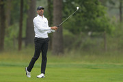 Alvaro Quiros of Spain hits his second shot on the 9th hole during the first round of the BMW PGA Championship at Wentworth on May 24, 2018 in Virginia Water, England.