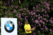 Alvaro Quiros of Spain tees off on the seventh during day two of the BMW PGA Championship at Wentworth on May 25, 2018 in Virginia Water, England.
