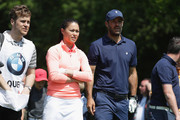 Olympian Sam Quek and footballer Jamie Redknapp during the Pro Am for the BMW PGA Championship at Wentworth on May 23, 2018 in Virginia Water, England.