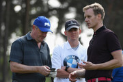 Piers Morgan chats with Dan Walker during the Pro Am for the BMW PGA Championship at Wentworth on May 23, 2018 in Virginia Water, England.