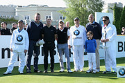 (L-R) Matthew Pinsent, Luke Donald of England and Sir Steve Redgrave pose on the 1st tee during the Pro-Am ahead of the BMW PGA Championship at Wentworth on May 21, 2014 in Virginia Water, England.