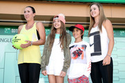 WTA players Jelena Jankovic and Cici Bellis assist the women's draw during the BNP Paribas Open at the Indian Wells Tennis Garden on March 6, 2017 in Indian Wells, California.