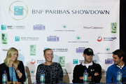 (L-R) Maria Sharapova, Caroline Wozniacki, Andy Roddick, and Roger Federer address the media during a press conference for the BNP Paribas Showdown on March 5, 2012 at the Essex House in New York City.