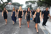 Simona Halep of Romania, Lucie Safarova of Czech Republic, Petra Kvitova of Czech Republic, Agnieszka Radwanska of Poland and Angelique Kerber of Germany attend the official photo shoot for the BNP Paribas WTA Finals at the Old Supreme Court Building on October 23, 2015 in Singapore.