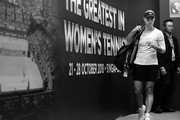 Image has been converted to black and white.) Angelique Kerber of Germany walks onto the court prior to her singles match against Kiki Bertens of the Netherlands during day 2 of the BNP Paribas WTA Finals Singapore presented by SC Global at Singapore Sports Hub on October 22, 2018 in Singapore.